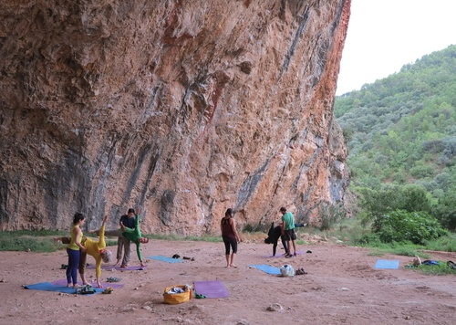 Balance and stretching practice in the inspirational St Linya cave