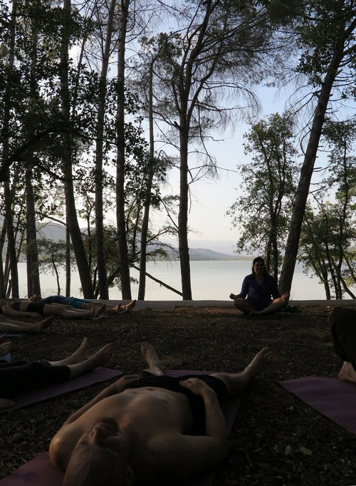 Lakeside yoga after a days climb
