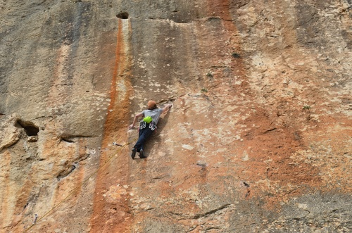The south facing Cubells offers great climbing in mid range grades